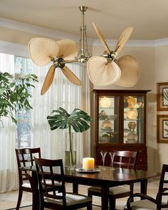 Tropical Ceiling Fans inspired by nature with palm, bamboo and all-weather blade options Ceiling Fan Blade Covers, Ceiling Light Covers, Ceiling Fan Blades, Living Room Fans, Tropical Ceiling Fans, Colonial Home Decor, Ceiling Fan Makeover, Estilo Tropical, Bronze Ceiling Fan
