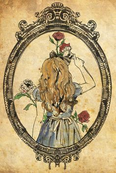 This is art work done by Katie Woodger.I have this as a tatt on my leg. Alice in Wonderland Art Disney Painting Red Roses Mirror Through The Looking Glass Books Lewis Carrol Alicia Wonderland, Adventures In Wonderland, Alice In Wonderland Tattoo Sleeve, Alice In Wonderland Fanart, Alice In Wonderland Drawings, Lewis Carroll, Illustrations, Illustration Art, Painting The Roses Red