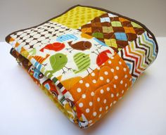Urban Zoologie Owl Quilt Baby Boy Made to by NowandThenQuilts