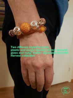 Gold Donuts, Stretch Bracelets, Beaded Bracelets, Fall Jewelry, Acrylic Beads, Adjustable Bracelet, Bracelet Sizes, Leather Cord, Hippie Boho