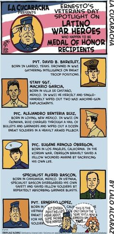 La Cucaracha salutes Latino veterans who won Medals of Honor  (toon)