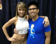 Sara Jean Underwood gets felt up by Vault Boy.  Also, and to a lesser degree, by some Asian guy.