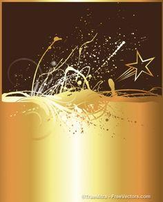 Goloden ink splash with star background