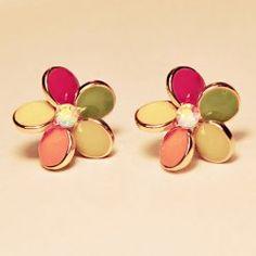 Sweet Style Pair of Colored Glaze Rhinestone Embellished Flower Shape Earrings For Women