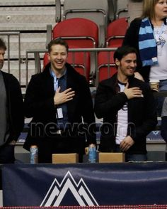 Josh Dallas and Colin O'Donoghue at the Vancouver Whitecaps game (March 28, 2015)