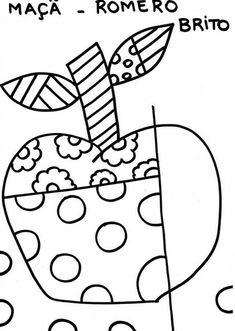 Romero Britto para colorir - Maçã