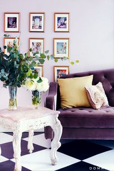 French salon style room, purple velvet sofa, lavender walls, and checked floors. Decor, Colorful Interiors, Interior, Purple Sofa, Purple Living Room, Home Decor, Purple Velvet Sofa, Interior Design, Black Furniture Living Room