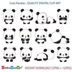 Cute Baby Pandas clipart set