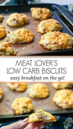 If you need a low carb breakfast on the go, try these easy meat lover's low carb biscuits! It's a simple biscuit recipe with bacon, ham, sausage and cheese that can also be a high protein, low carb snack. Make a big batch and freeze to have on hand. Each biscuit is only 0.5g net carbs and 7.6g protein! #highprotein #biscuits #Lowcarb #keto #breakfast #onthego #freezable #bacon #meatlovers High Protein Breakfast, High Protein Low Carb, Breakfast On The Go, Low Carb Keto, High Protein Snacks On The Go, Low Carb Breakfast Easy, Breakfast Meat, Low Sugar Recipes, Healthy Low Carb Recipes
