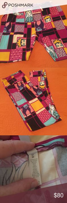 Lady Villains + BONUS Pair TC Lularoe Brand new! Hard to find Disney Villain Lularoe Leggings featuring Ursula, Evil Queen and Maleficent. Pink color wave with teal, mustard yellow, black, purple and white colors too. Some cool designs in the boxes. With this purchase you also receive a mystery pair of leggings (not Halloween or villains) Size is TC which is recommended for size 12-18. Buttery soft!    PRICE IS FIRM AT THIS TIME!! LuLaRoe Pants Leggings