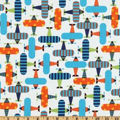 Ready Set Go Organic Airplanes Bright from @fabricdotcom  Designed by Ann Kelle for Robert Kaufman Fabrics, this organic cotton print fabric is perfect for quilt or craft projects, apparel and home décor accents. Colors include turquoise, orange, lime, navy and white. Has GOTS certifcation.