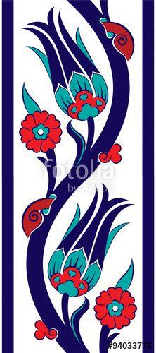 Vector: Sarmaşık Lale Çini Deseni Bordür (Kobalt - Lalezar)