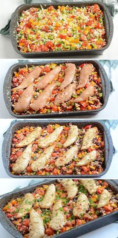 Juicy chicken fillets in dish with cauliflower rice, vegetables and lovely spices that add lots of flavor. Perfect for easy and healthy use. I Love Food, Good Food, Food C, Vegetarian Recipes, Healthy Recipes, Dinner Is Served, Fabulous Foods, Cauliflower Rice, Easy Cooking