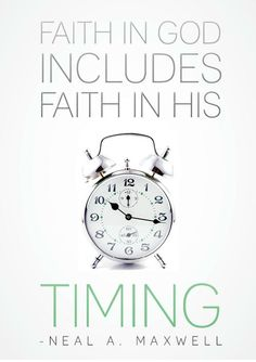 God's perfect timing.