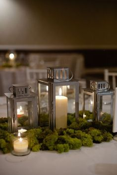 Wedding Lantern Center Piece - these lanterns are from IKEA. I like the simplicity of this, gives you an opportunity to focus on the lanterns Moss Centerpieces, Lantern Centerpiece Wedding, Wedding Lanterns, Wedding Centerpieces, Wedding Table, Our Wedding, Centerpiece Ideas, Ikea Wedding, Wedding Vows