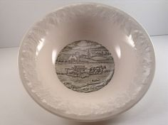 Vintage Pastoral Bowl by Taylor Smith featuring a horse and harvester by CrowsCollection on Etsy