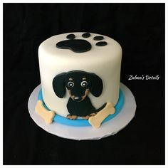 Dachshund Dog Cake Dachshund Cake, Daschund, Dog Cakes, Custom Cakes, Dogs, Desserts, Square Cakes, Dachshund Dog, Crack Cake