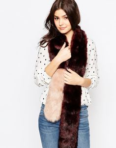 Urbancode Colourblock Faux Fur Skinny Scarf
