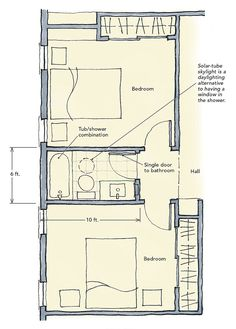 Bedroom addition ideas addition with 2 bedrooms and - Jack and jill bathroom layout ...