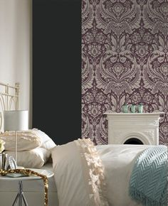 Labyrinth Damask Wallpaper - Designer Beige Wall Coverings by Graham & Brown Purple And Gold Wallpaper, Gold Striped Wallpaper, Purple Wallpaper, Blue Wallpapers, Home Wallpaper, Wallpaper Ideas, Demask Wallpaper, Linen Wallpaper, Amazing Wallpaper