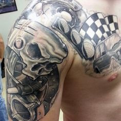 60 Piston Tattoo Designs For Men - Unleash High Horsepower Hd Tattoos, Tattoos Arm Mann, Arm Tattoos For Guys, Future Tattoos, Tattoo Drawings, Cool Tattoos, Racing Tattoos, Tatoos, Cloud Tattoo Sleeve