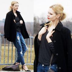 Diy Coat, Stradivarius Jeans, Next Blouse, Pull & Bear Heels, H&M Bag, Cruciverba Bijoux Brancelet