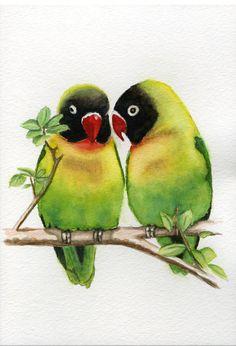 Exotic tropical lovebird bird paintings 5x7 print by Earthspalette, $10.00