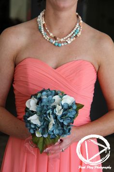 pink bridesmaid dress - turquoise - blue bouquet - bridesmaid - bridesmaid bouquet - country wedding - turquoise wedding jewelry - wedding