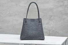 Dark grey merino wool felt elegant tote bag by FeltinLoveBags