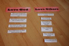 putting the 10 commandments into the 2 greatest commandments categories!