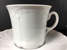 Seltmann Weiden Bavaria/ W. Germany Cup And Saucer White Embossed