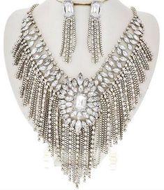 Clear Rhinestone Silver Fringe Statement Necklace Earrings Set Elegant Jewelry #Unbranded