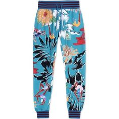 Adidas X Mary Katrantzou Casual Trouser ($220) ❤ liked on Polyvore featuring pants, bottoms, trousers, turquoise, print trousers, multi colored pants, patterned trousers, print pants and patterned pants