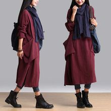 New Casual Women dress Loose Solid Full Sleeve V-Neck 15 Linen Cotton Literature And Art Dresses Purple 8893(China (Mainland))
