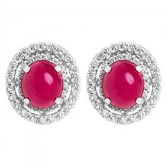 Pre-owned 18K White Gold Cabochon Ruby And Diamond Earrings ($6,480) ❤ liked on Polyvore featuring jewelry, earrings, diamond jewellery, white gold diamond earrings, ruby jewelry, cabochon earrings and diamond earrings