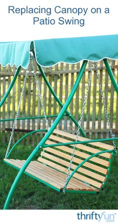 Time and the elements can take their toll on the fabric canopy of your outdoor swing. Rather than purchasing an entirely new swing you can replace the canopy. This is a guide about replacing canopy on a patio swing.