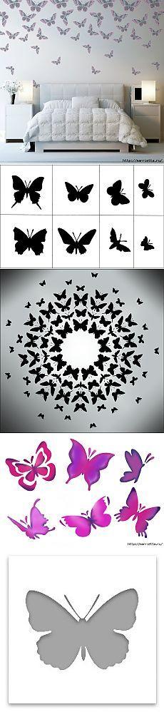 Mariposas en el interior. Plantillas para paredes y techos