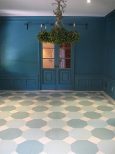 Photo journal of painted floor by  Meredith Kleinman and M. Design Interiors