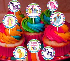 Hey, I found this really awesome Etsy listing at https://www.etsy.com/listing/186633691/my-little-pony-cupcake-toppers-and-thank
