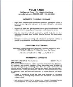 Resume samples entry level automotive mechanic