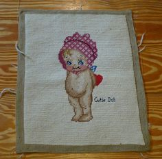Vintage Kewpie Needlepoint  with Bonnet and heart - by dandelionvintage, $30.00