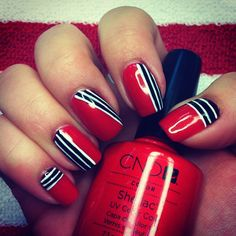 Chicago Blackhawk nails!  CND Shellac