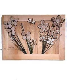 "3D art Wooden flowers-Butterflies-Dragonfly | Natural wood wall art | Carved log tree branch petals | Rustic art home decor ""painting"" $195.00"