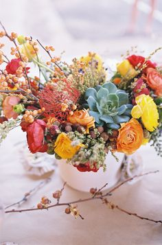 These colorful flowers and plants are so perfect for an autumn #wedding! Natural and Cozy Tablescape by http://carterandcookeventco.com/blog/decor/natural-cozy-tablescape/  Photo Credit: http://jillthomasphotography.com/