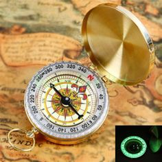 Antiques Humor Pocket Compass Gps Brass Handmade Working Compasses Hiking Camping To Prevent And Cure Diseases