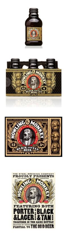 Howling Monkey Beer *** Designed by Turner Duckworth  ***  Unfortunately, the Howling Monkey Beverage Company ended their beer production and got into the energy drink game. But, we can still admire this packaging and dream about what could have been …