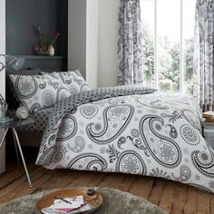 Florance Paisley Grey/Pink Reversible Duvet Quilt Cover Bedding Set – Linen and Bedding