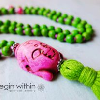 Buddha Mala Beads • Lime Magnesite for Creative Visualization