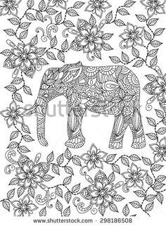 Coloriage sur invit pinterest for Paisley elephant coloring pages