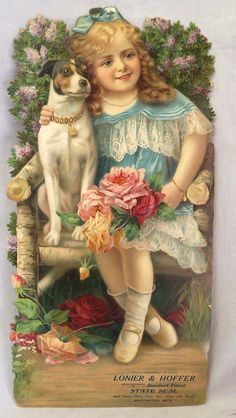 Victorian era die-cut advertising sign of girl with dog from Lonier and Hoffer, manufacturers of Standard Patent, State Seal and latest flour, feed, hay, grain and straw of Manchester, Michigan, measures 20 x 10 in.: